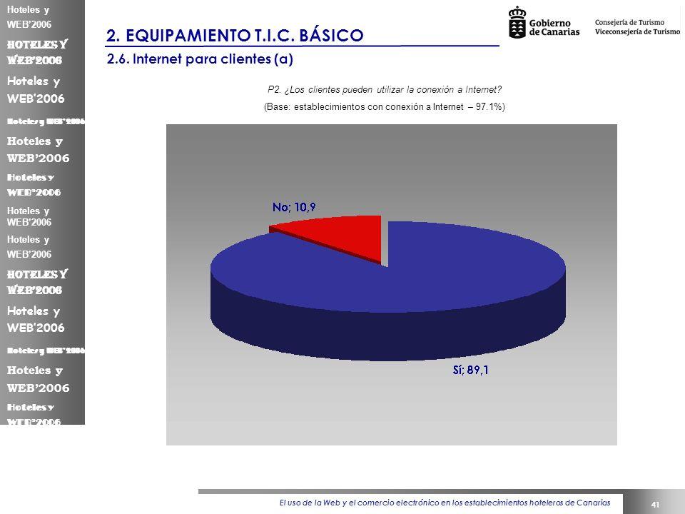 El uso de la Web y el comercio electrónico en los establecimientos hoteleros de Canarias 41 Hoteles y WEB2006 2.