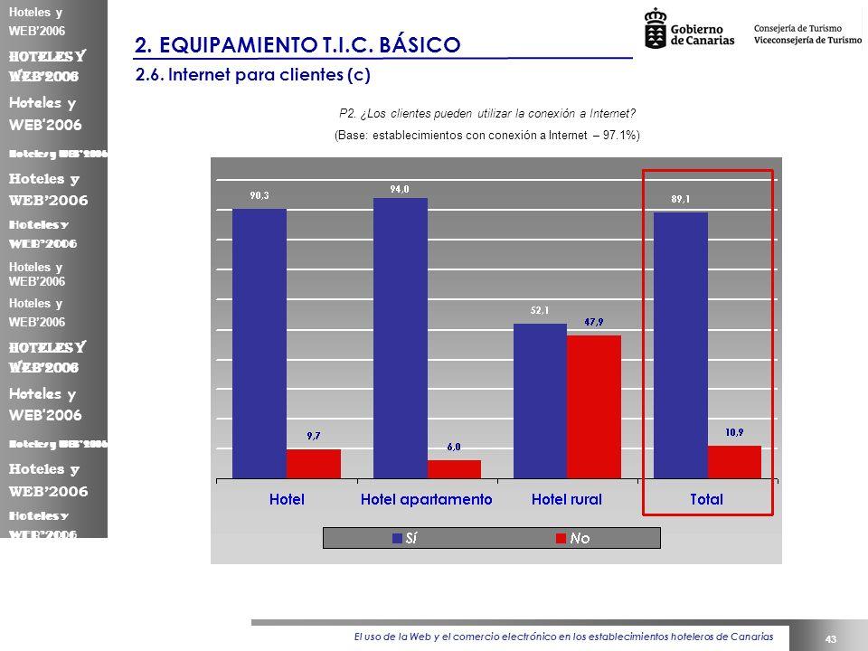 El uso de la Web y el comercio electrónico en los establecimientos hoteleros de Canarias 43 Hoteles y WEB2006 2.