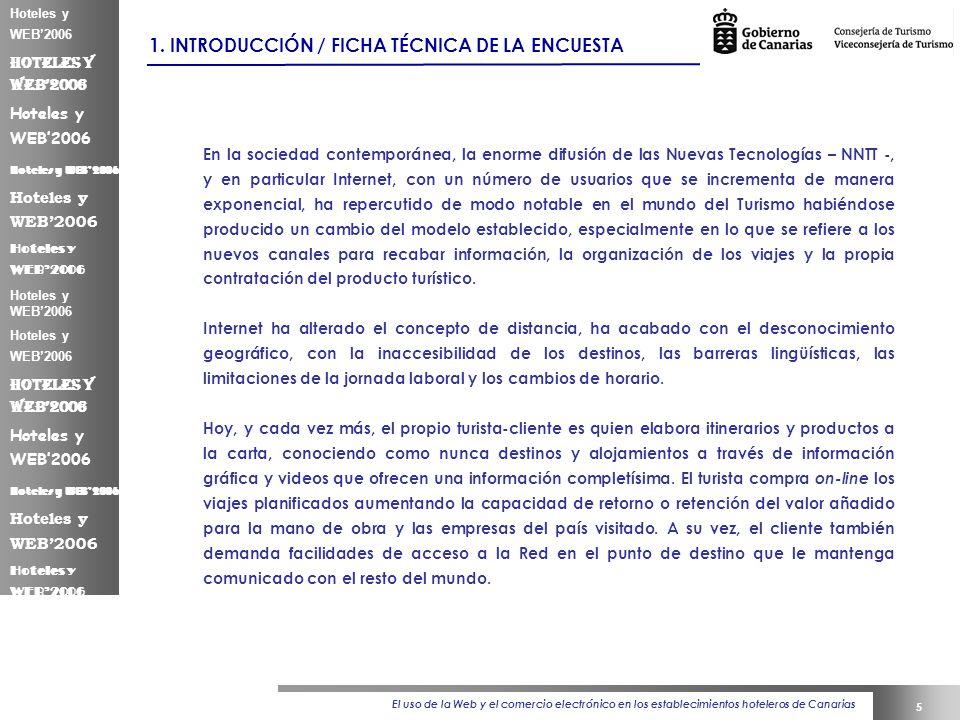 El uso de la Web y el comercio electrónico en los establecimientos hoteleros de Canarias 5 Hoteles y WEB2006 1.