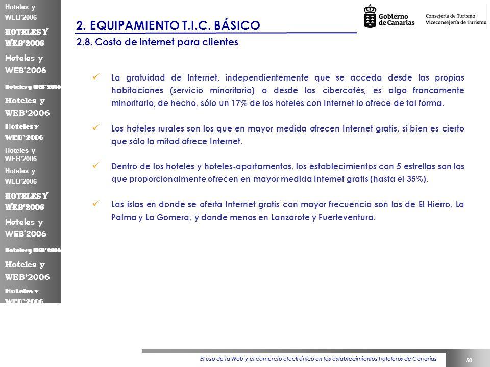 El uso de la Web y el comercio electrónico en los establecimientos hoteleros de Canarias 50 Hoteles y WEB2006 2.