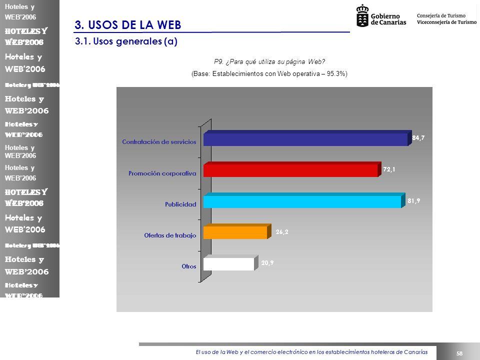 El uso de la Web y el comercio electrónico en los establecimientos hoteleros de Canarias 58 Hoteles y WEB2006 3.
