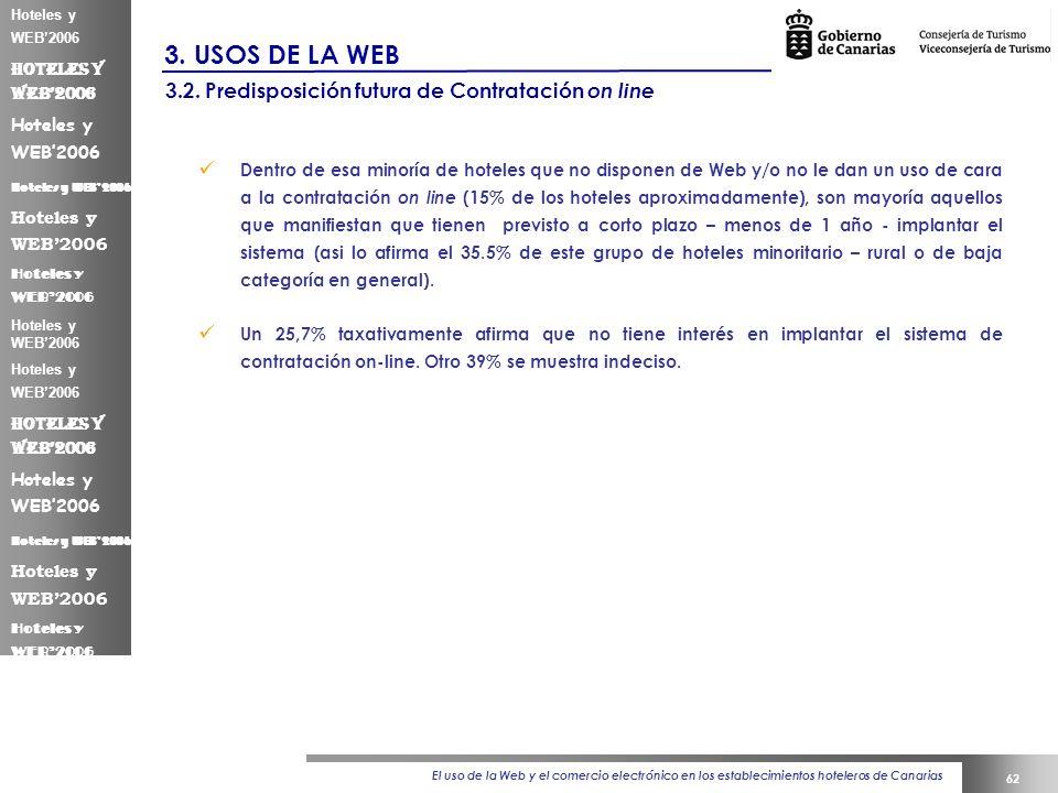 El uso de la Web y el comercio electrónico en los establecimientos hoteleros de Canarias 62 Hoteles y WEB2006 3.