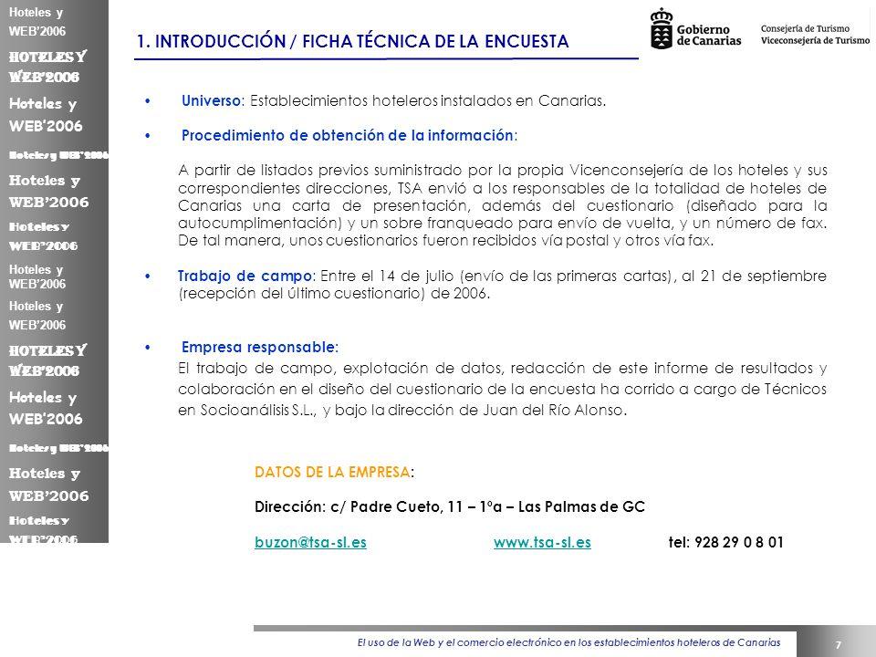 El uso de la Web y el comercio electrónico en los establecimientos hoteleros de Canarias 7 Hoteles y WEB2006 1.