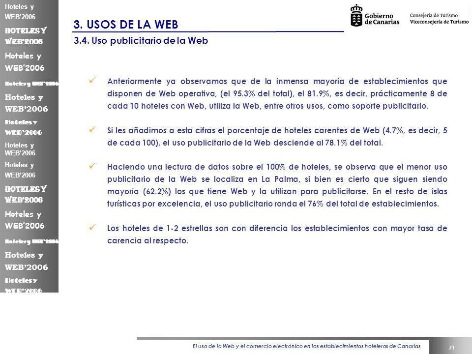 El uso de la Web y el comercio electrónico en los establecimientos hoteleros de Canarias 71 Hoteles y WEB2006 3.