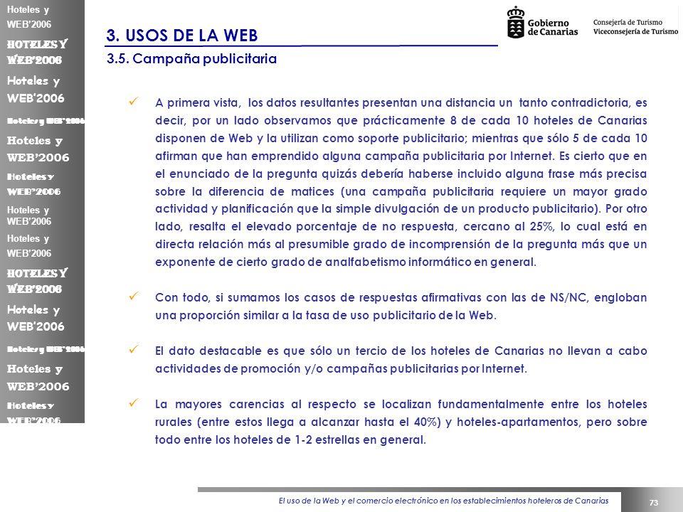 El uso de la Web y el comercio electrónico en los establecimientos hoteleros de Canarias 73 Hoteles y WEB2006 3.