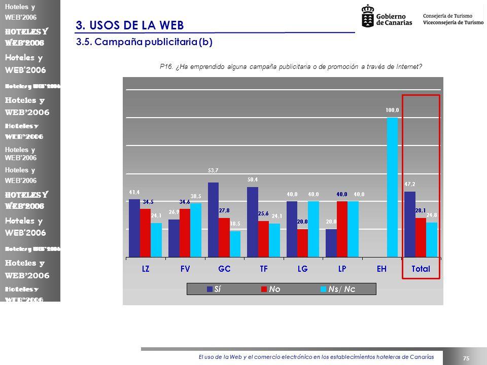 El uso de la Web y el comercio electrónico en los establecimientos hoteleros de Canarias 75 Hoteles y WEB2006 3.
