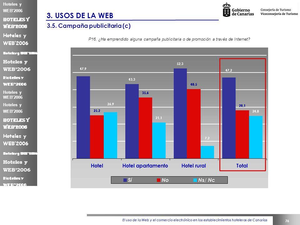 El uso de la Web y el comercio electrónico en los establecimientos hoteleros de Canarias 76 Hoteles y WEB2006 3.