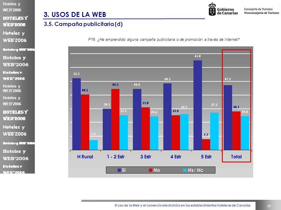 El uso de la Web y el comercio electrónico en los establecimientos hoteleros de Canarias 77 Hoteles y WEB2006 3.