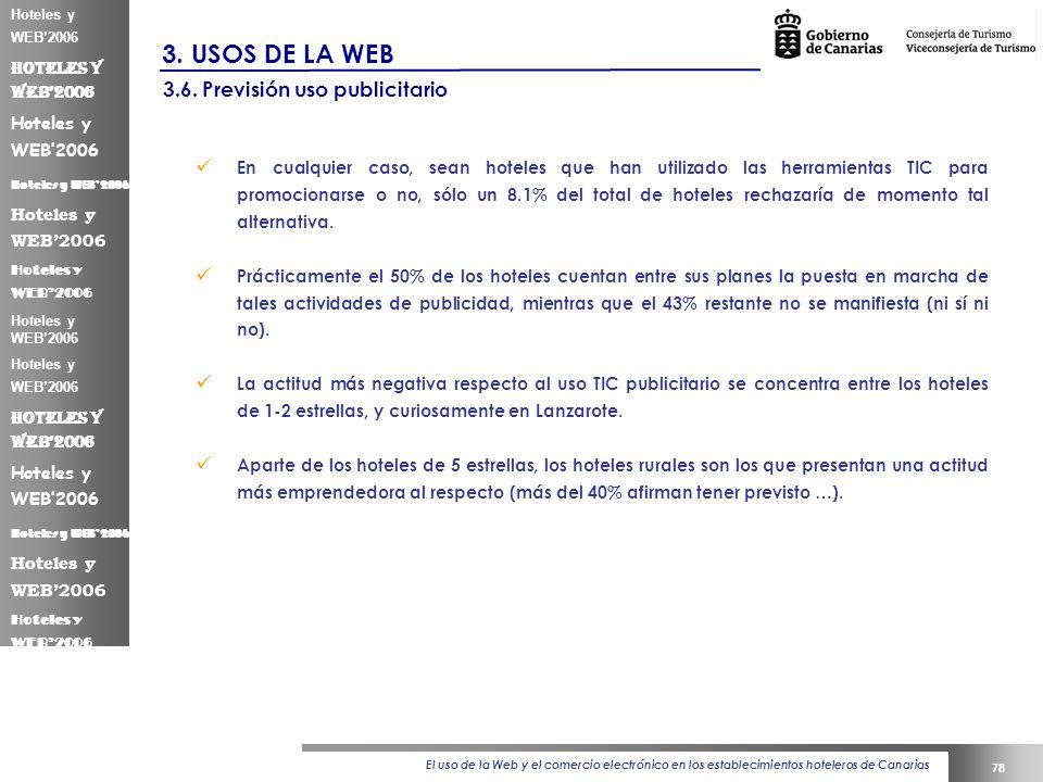 El uso de la Web y el comercio electrónico en los establecimientos hoteleros de Canarias 78 Hoteles y WEB2006 3.