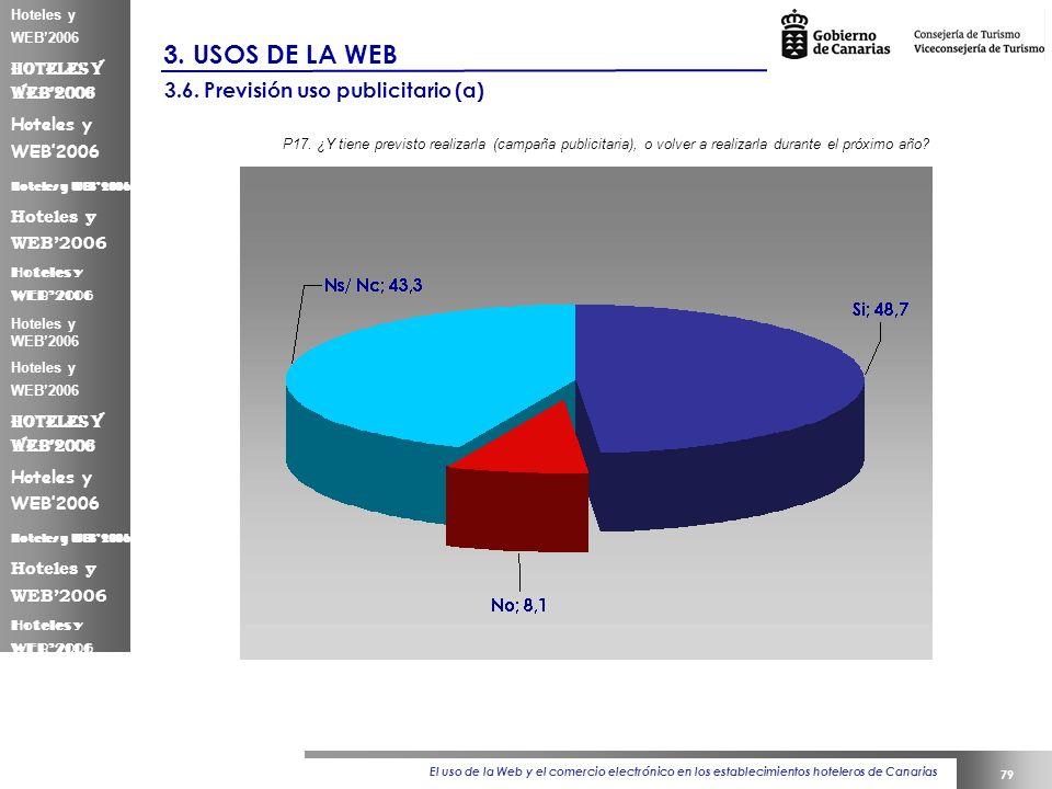El uso de la Web y el comercio electrónico en los establecimientos hoteleros de Canarias 79 Hoteles y WEB2006 3.