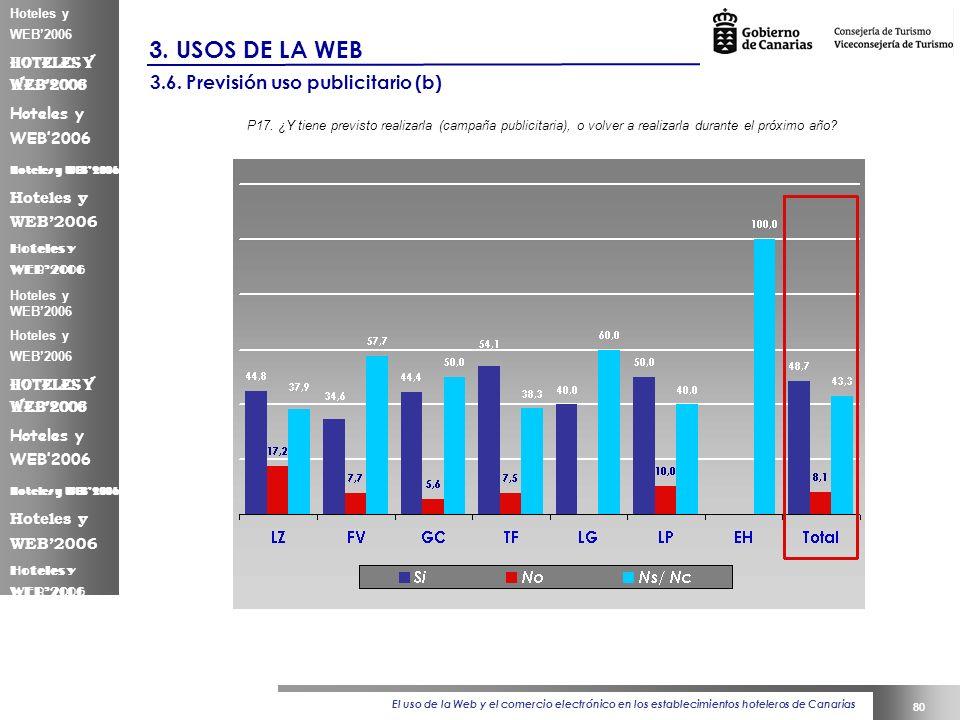 El uso de la Web y el comercio electrónico en los establecimientos hoteleros de Canarias 80 Hoteles y WEB2006 3.
