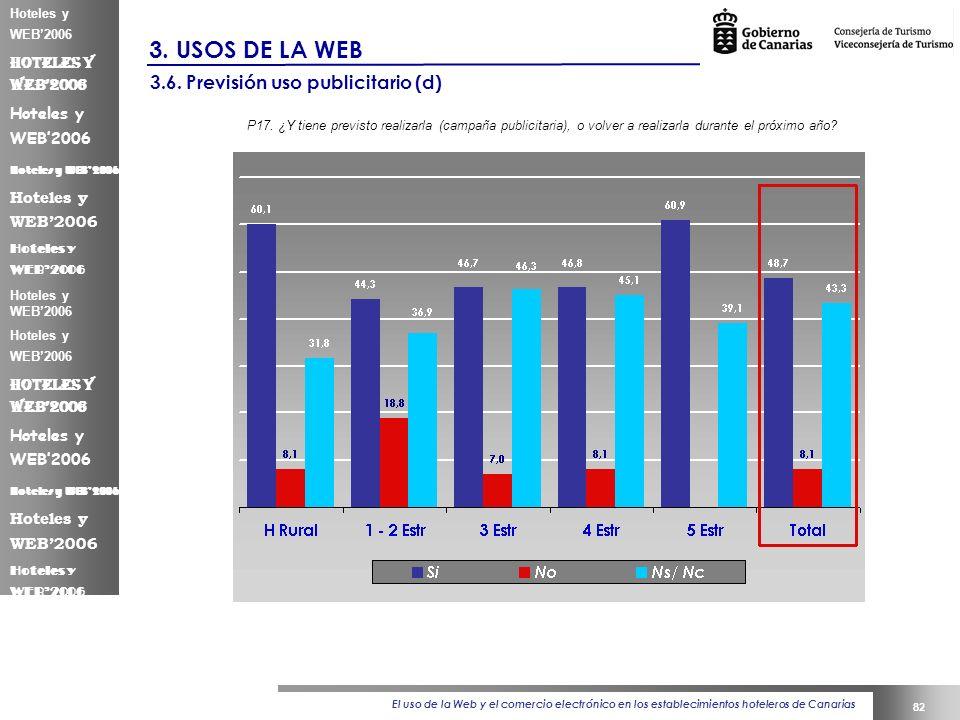 El uso de la Web y el comercio electrónico en los establecimientos hoteleros de Canarias 82 Hoteles y WEB2006 3.