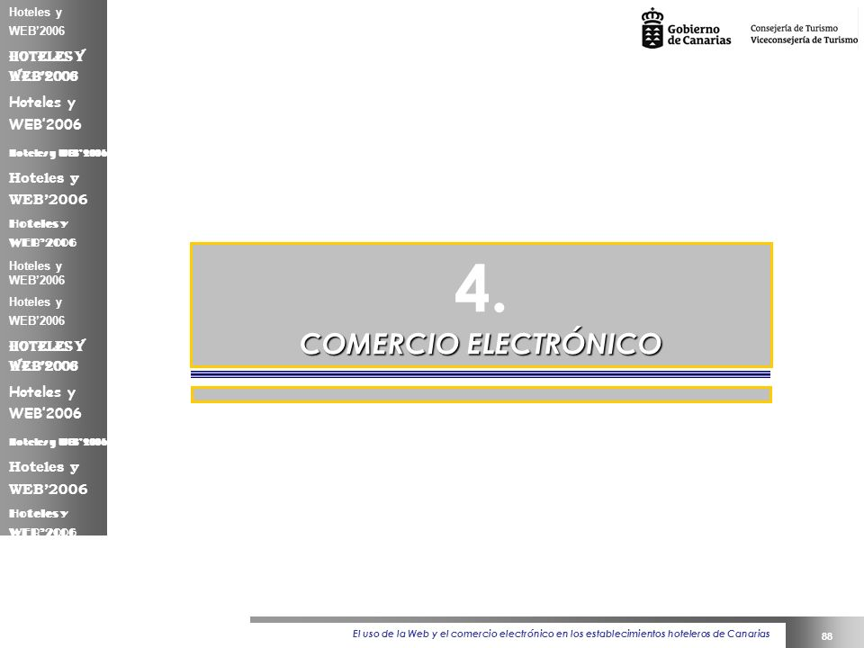El uso de la Web y el comercio electrónico en los establecimientos hoteleros de Canarias 88 Hoteles y WEB2006 4.