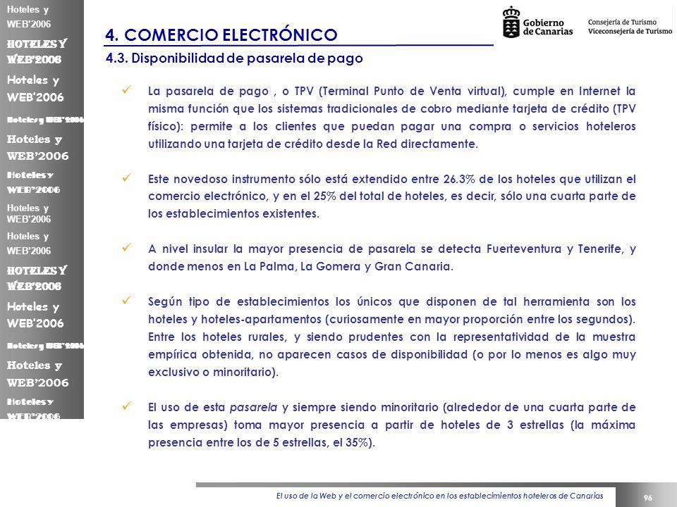 El uso de la Web y el comercio electrónico en los establecimientos hoteleros de Canarias 96 Hoteles y WEB2006 4.