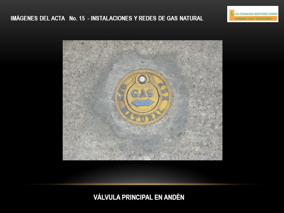 IMÁGENES DEL ACTA No. 15 - INSTALACIONES Y REDES DE GAS NATURAL VÁLVULA PRINCIPAL EN ANDÉN
