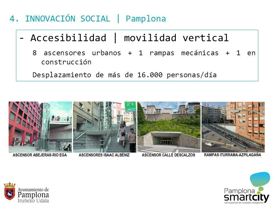 4. INNOVACIÓN SOCIAL | Pamplona - Accesibilidad | movilidad vertical 8 ascensores urbanos + 1 rampas mecánicas + 1 en construcción Desplazamiento de m