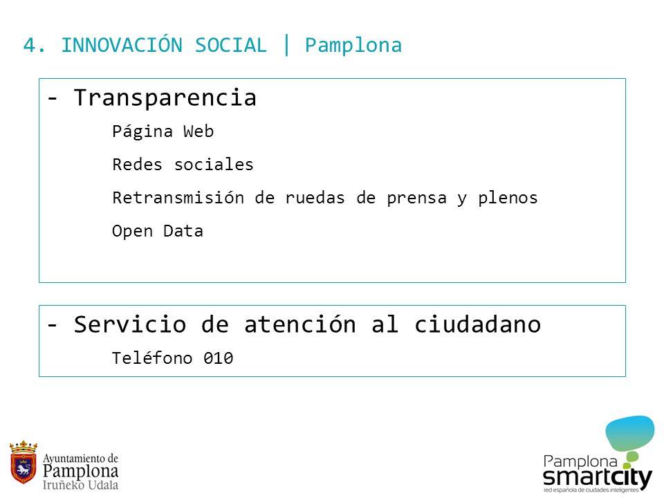 4. INNOVACIÓN SOCIAL | Pamplona - Transparencia Página Web Redes sociales Retransmisión de ruedas de prensa y plenos Open Data - Servicio de atención