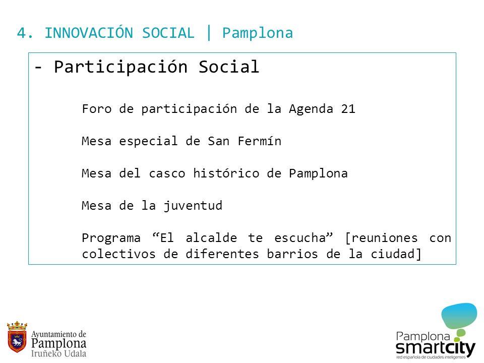 4. INNOVACIÓN SOCIAL | Pamplona - Participación Social Foro de participación de la Agenda 21 Mesa especial de San Fermín Mesa del casco histórico de P