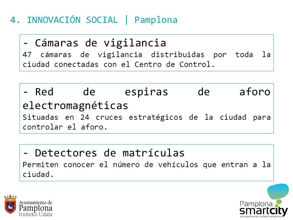 4. INNOVACIÓN SOCIAL | Pamplona - Cámaras de vigilancia 47 cámaras de vigilancia distribuidas por toda la ciudad conectadas con el Centro de Control.
