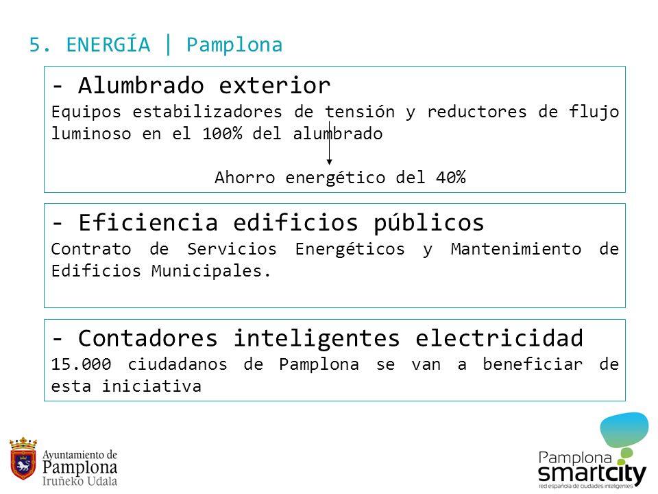 5. ENERGÍA | Pamplona - Alumbrado exterior Equipos estabilizadores de tensión y reductores de flujo luminoso en el 100% del alumbrado Ahorro energétic