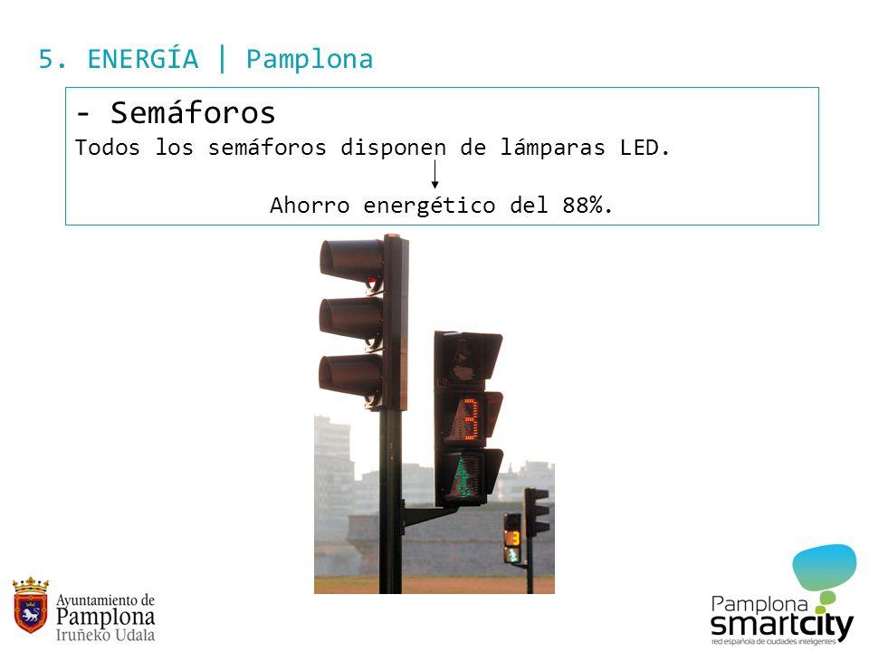 5. ENERGÍA | Pamplona - Semáforos Todos los semáforos disponen de lámparas LED. Ahorro energético del 88%.