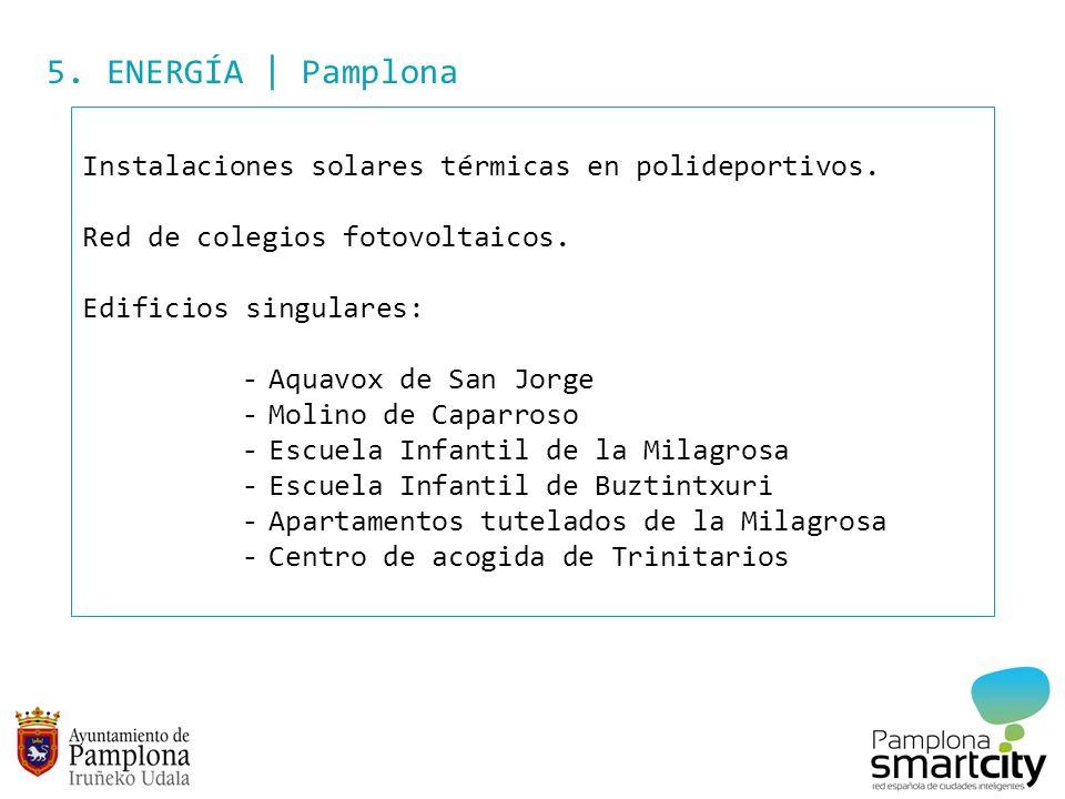 5. ENERGÍA | Pamplona Instalaciones solares térmicas en polideportivos. Red de colegios fotovoltaicos. Edificios singulares: -Aquavox de San Jorge -Mo