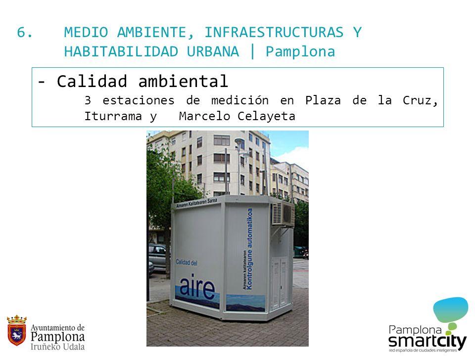 6. MEDIO AMBIENTE, INFRAESTRUCTURAS Y HABITABILIDAD URBANA | Pamplona - Calidad ambiental 3 estaciones de medición en Plaza de la Cruz, Iturrama y Mar