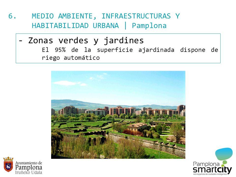 6. MEDIO AMBIENTE, INFRAESTRUCTURAS Y HABITABILIDAD URBANA | Pamplona - Zonas verdes y jardines El 95% de la superficie ajardinada dispone de riego au