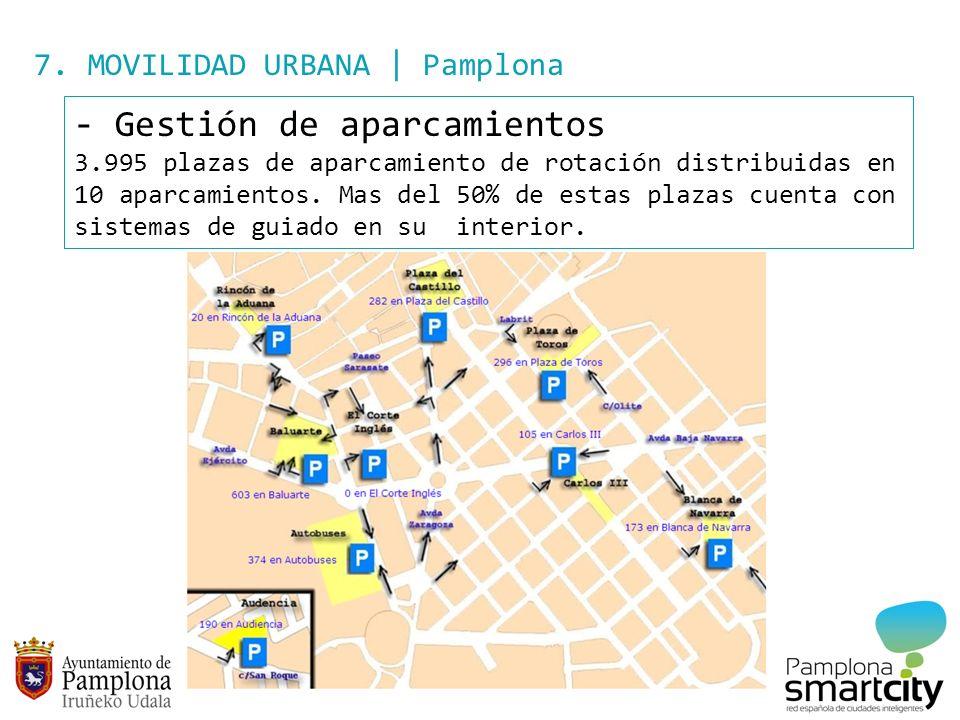 7. MOVILIDAD URBANA | Pamplona - Gestión de aparcamientos 3.995 plazas de aparcamiento de rotación distribuidas en 10 aparcamientos. Mas del 50% de es