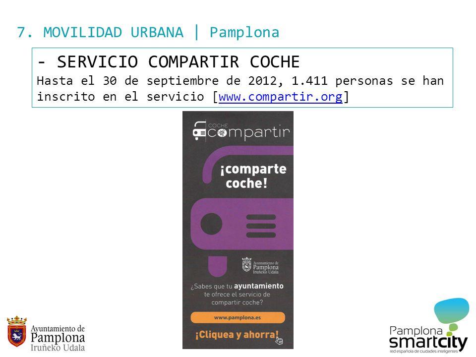 7. MOVILIDAD URBANA | Pamplona - SERVICIO COMPARTIR COCHE Hasta el 30 de septiembre de 2012, 1.411 personas se han inscrito en el servicio [www.compar