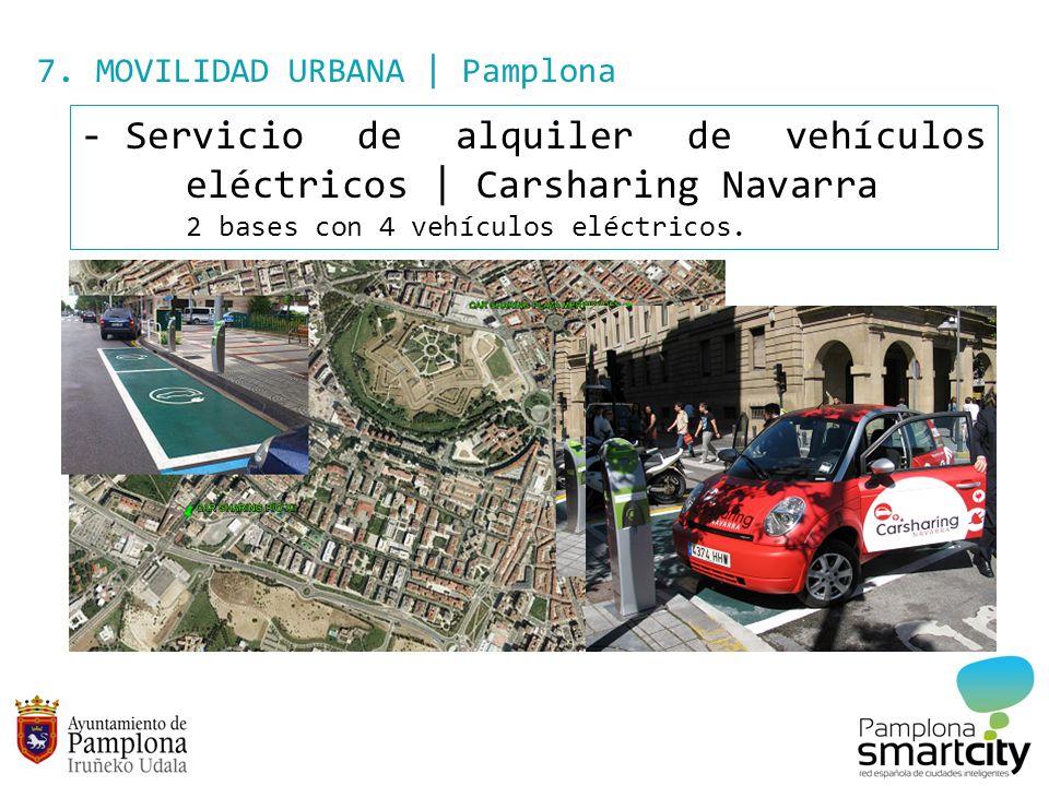 7. MOVILIDAD URBANA | Pamplona - Servicio de alquiler de vehículos eléctricos | Carsharing Navarra 2 bases con 4 vehículos eléctricos.