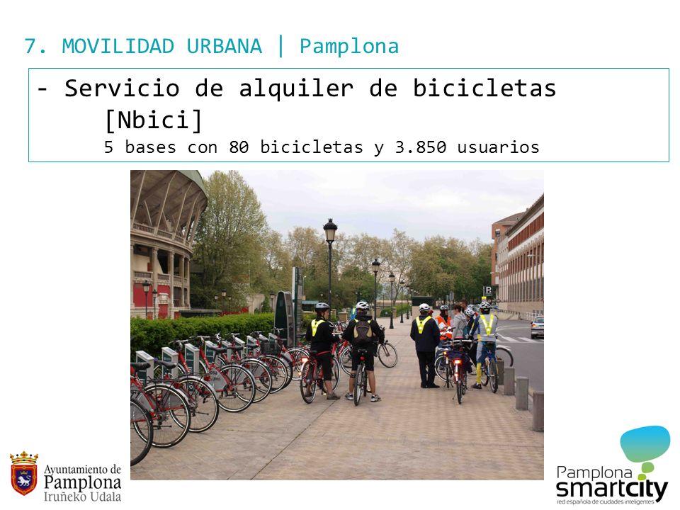 7. MOVILIDAD URBANA | Pamplona - Servicio de alquiler de bicicletas [Nbici] 5 bases con 80 bicicletas y 3.850 usuarios