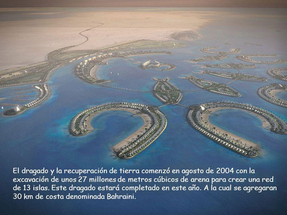 El dragado y la recuperación de tierra comenzó en agosto de 2004 con la excavación de unos 27 millones de metros cúbicos de arena para crear una red d