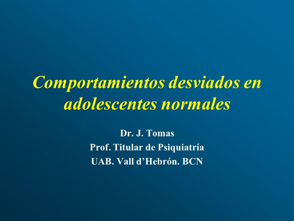 Comportamientos desviados en adolescentes normales Dr. J. Tomas Prof. Titular de Psiquiatría UAB. Vall dHebrón. BCN