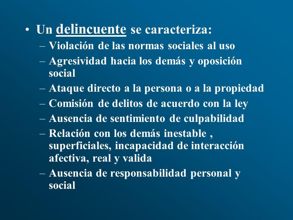 Un delincuente se caracteriza: –Violación de las normas sociales al uso –Agresividad hacia los demás y oposición social –Ataque directo a la persona o