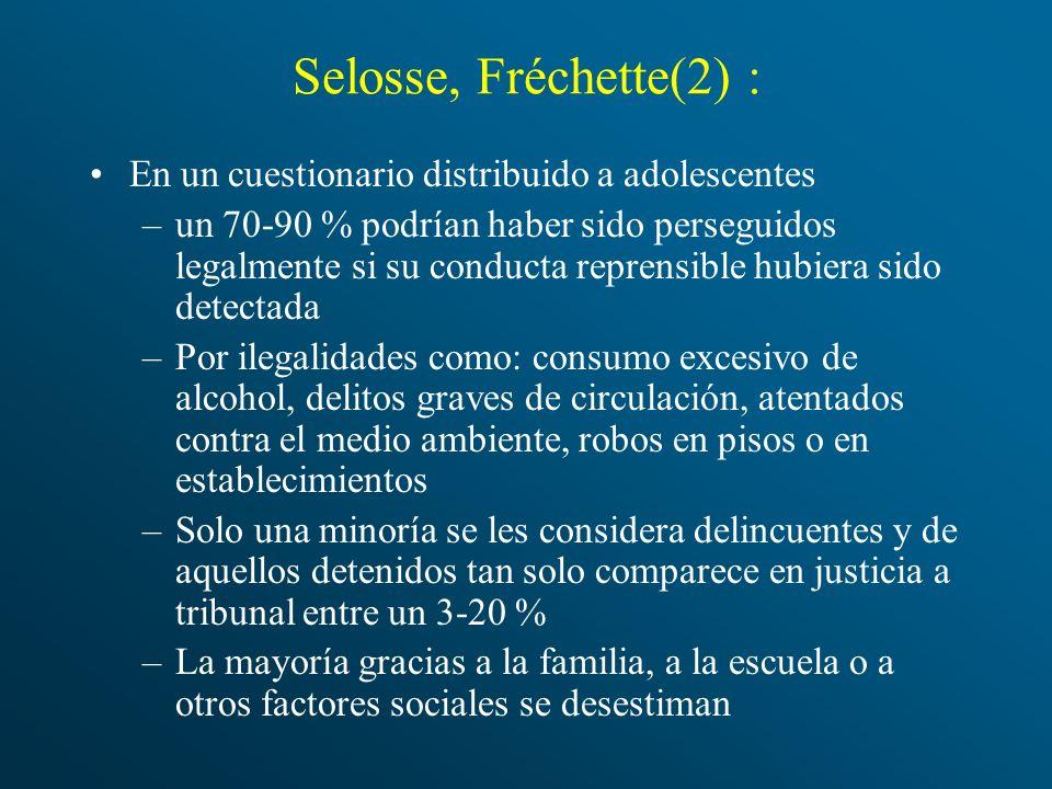 Selosse, Fréchette(2) : En un cuestionario distribuido a adolescentes –un 70-90 % podrían haber sido perseguidos legalmente si su conducta reprensible