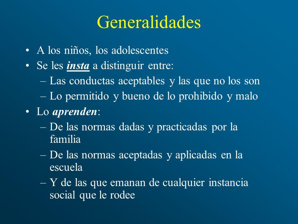 Generalidades A los niños, los adolescentes Se les insta a distinguir entre: –Las conductas aceptables y las que no los son –Lo permitido y bueno de l