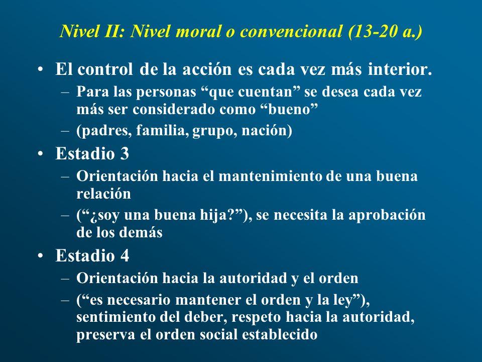 Nivel II: Nivel moral o convencional (13-20 a.) El control de la acción es cada vez más interior. –Para las personas que cuentan se desea cada vez más