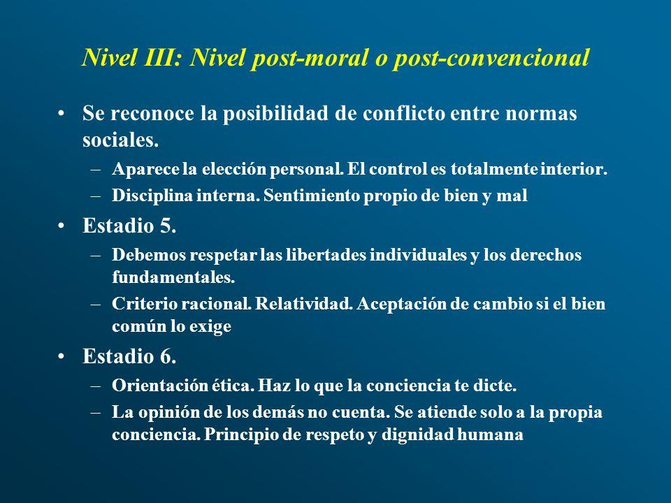 Nivel III: Nivel post-moral o post-convencional Se reconoce la posibilidad de conflicto entre normas sociales. –Aparece la elección personal. El contr