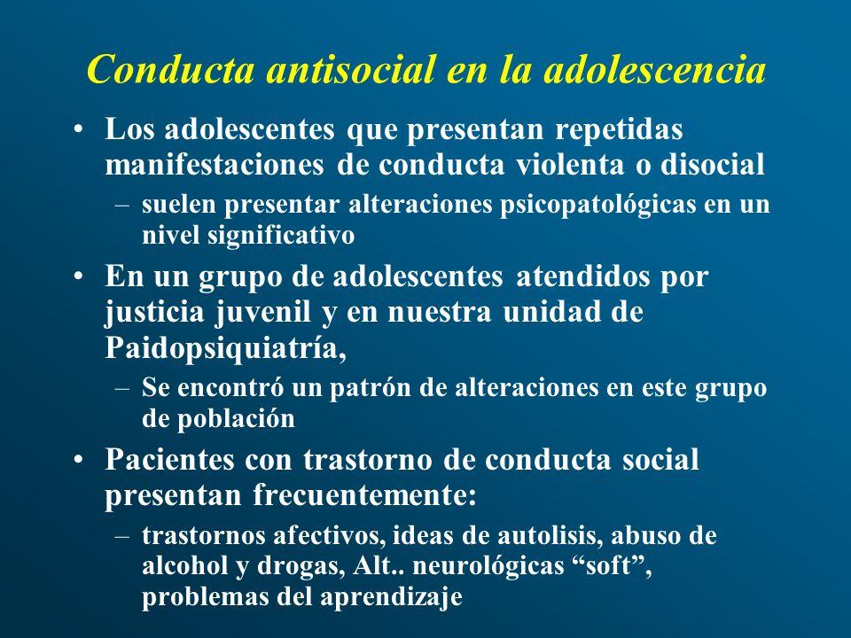 Conducta antisocial en la adolescencia Los adolescentes que presentan repetidas manifestaciones de conducta violenta o disocial –suelen presentar alte