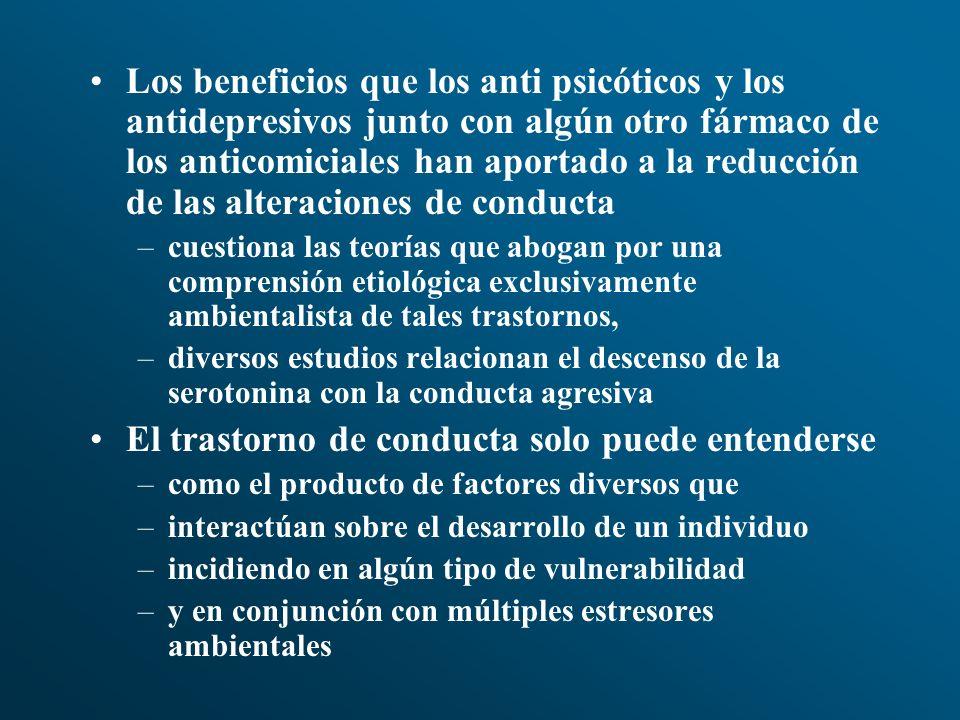 Los beneficios que los anti psicóticos y los antidepresivos junto con algún otro fármaco de los anticomiciales han aportado a la reducción de las alte