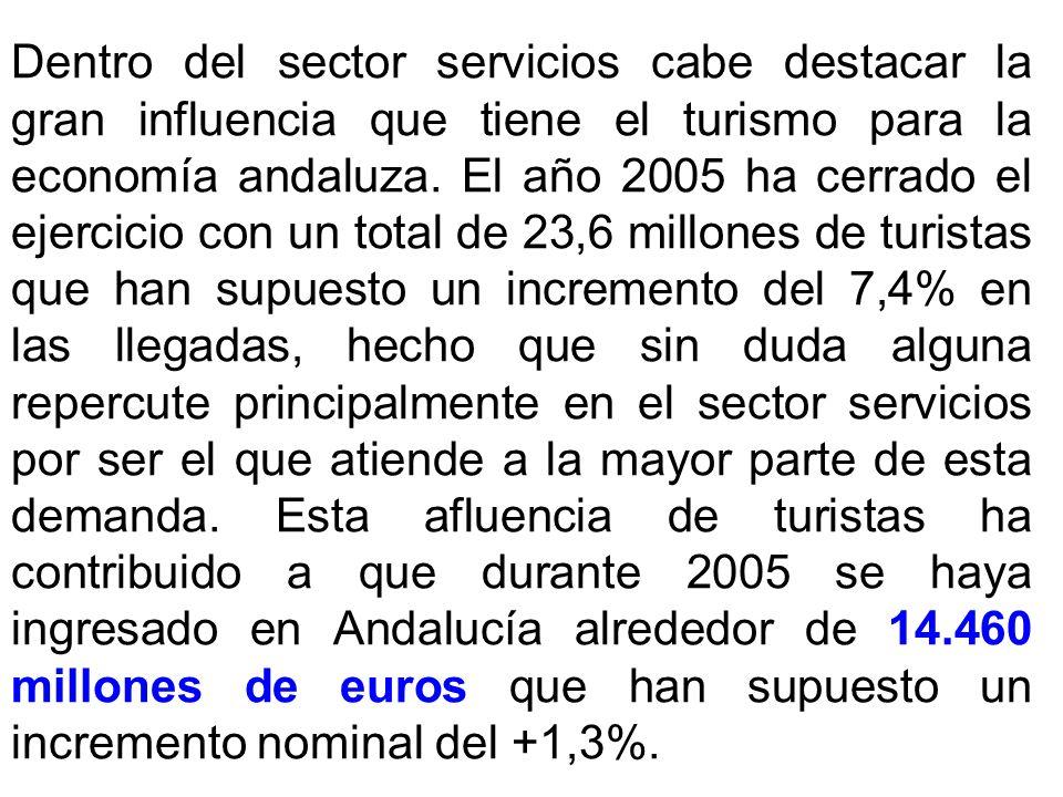 Dentro del sector servicios cabe destacar la gran influencia que tiene el turismo para la economía andaluza. El año 2005 ha cerrado el ejercicio con u