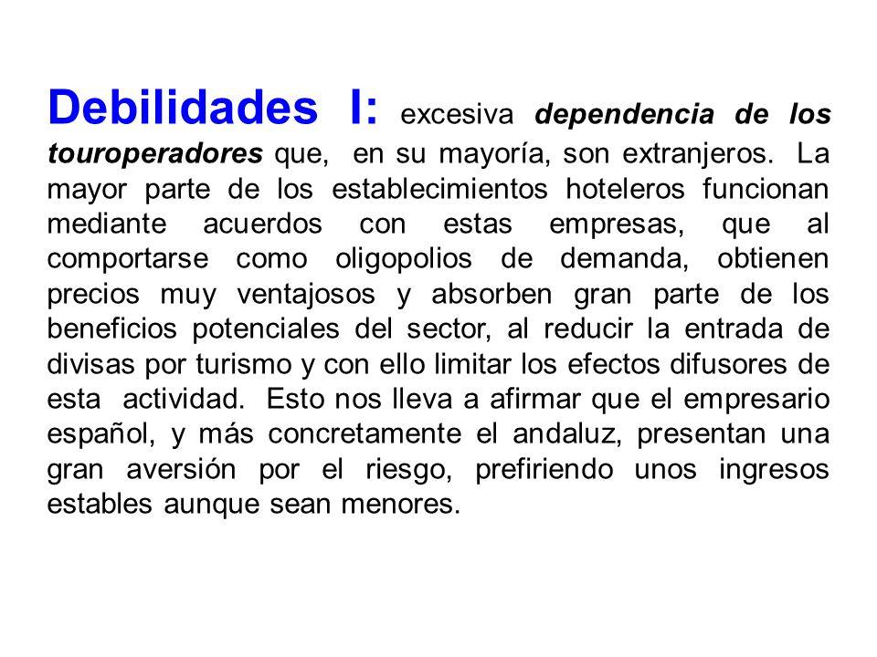 Debilidades I: excesiva dependencia de los touroperadores que, en su mayoría, son extranjeros. La mayor parte de los establecimientos hoteleros funcio