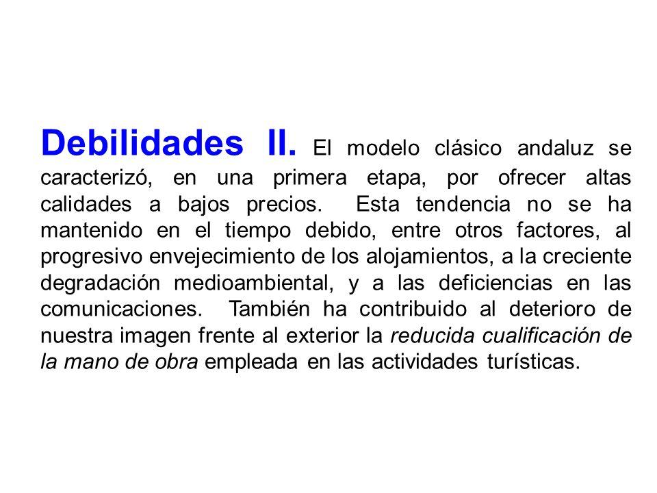 Debilidades II. El modelo clásico andaluz se caracterizó, en una primera etapa, por ofrecer altas calidades a bajos precios. Esta tendencia no se ha m