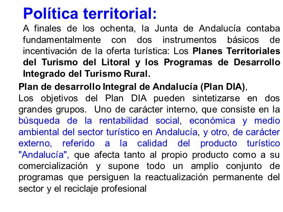 Política territorial: A finales de los ochenta, la Junta de Andalucía contaba fundamentalmente con dos instrumentos básicos de incentivación de la oferta turística: Los Planes Territoriales del Turismo del Litoral y los Programas de Desarrollo Integrado del Turismo Rural.