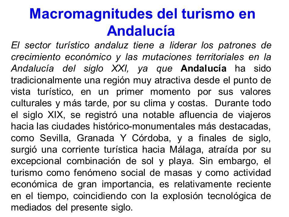 Macromagnitudes del turismo en Andalucía El sector turístico andaluz tiene a liderar los patrones de crecimiento económico y las mutaciones territoriales en la Andalucía del siglo XXI, ya que Andalucía ha sido tradicionalmente una región muy atractiva desde el punto de vista turístico, en un primer momento por sus valores culturales y más tarde, por su clima y costas.
