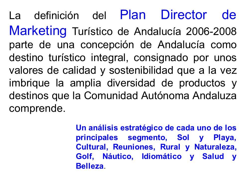 La definición del Plan Director de Marketing Turístico de Andalucía 2006-2008 parte de una concepción de Andalucía como destino turístico integral, co