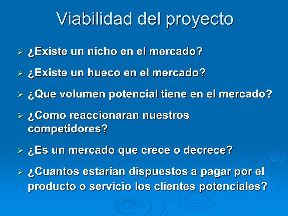 Viabilidad del proyecto ¿Existe un nicho en el mercado.