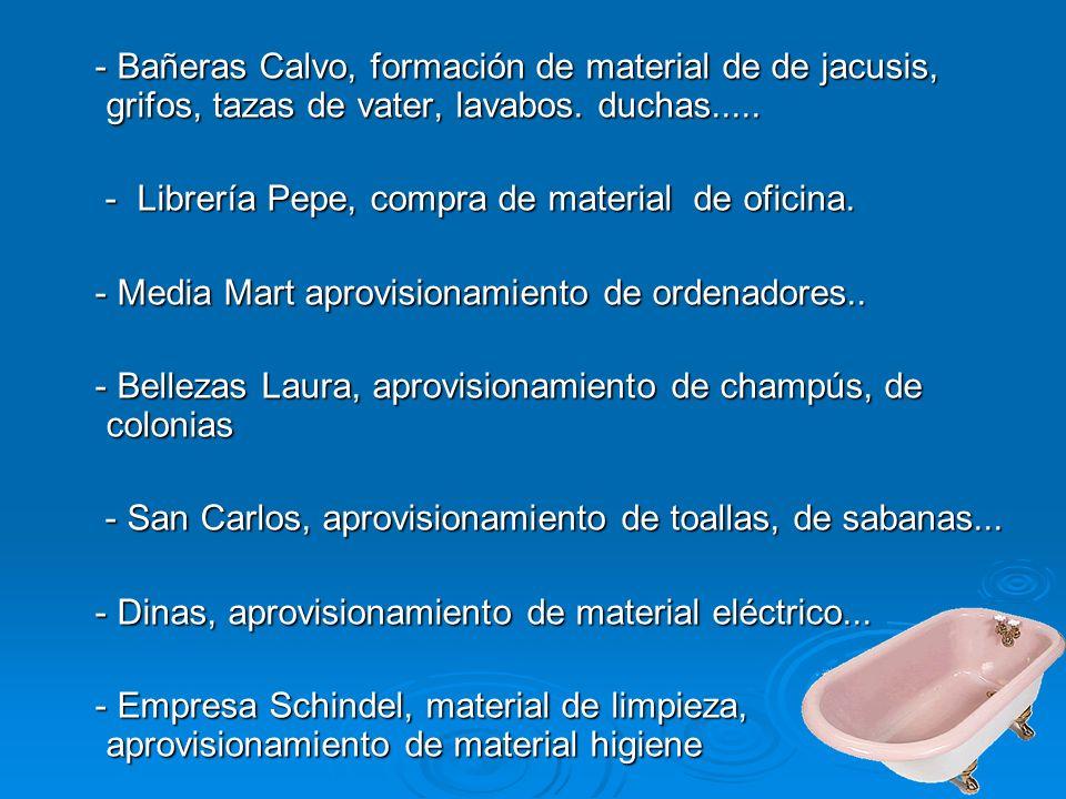 - Bañeras Calvo, formación de material de de jacusis, grifos, tazas de vater, lavabos.