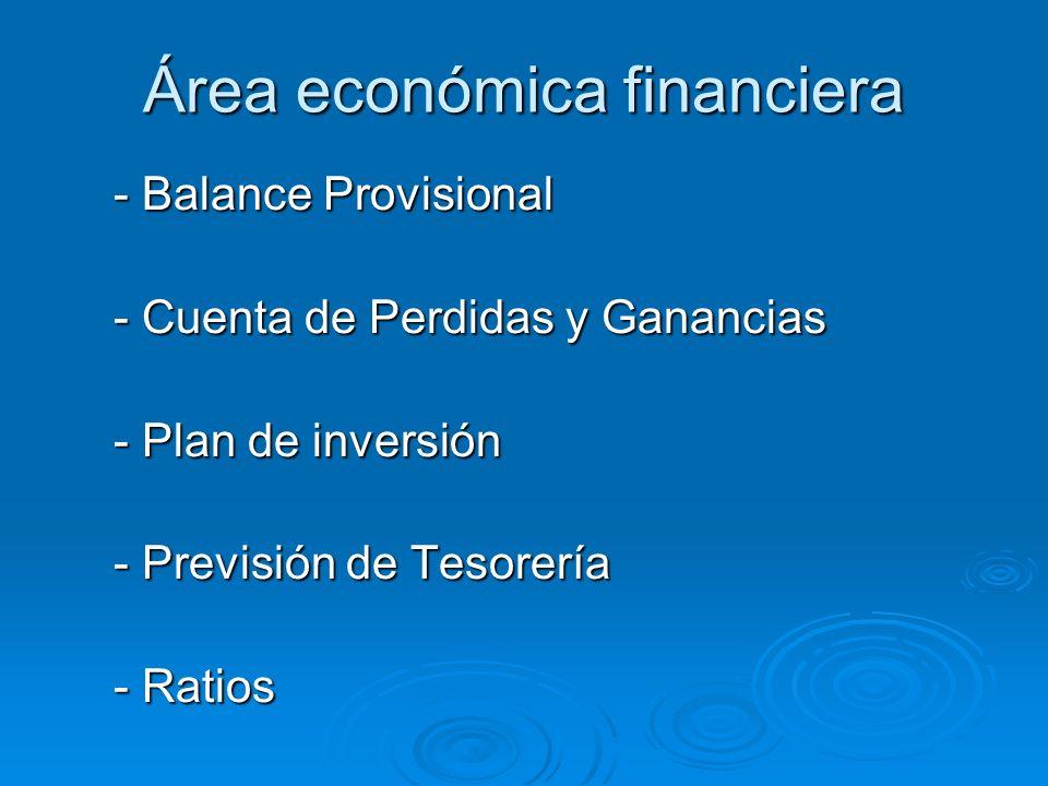 Área económica financiera - Balance Provisional - Cuenta de Perdidas y Ganancias - Plan de inversión - Previsión de Tesorería - Ratios